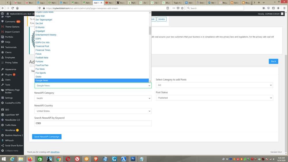 NewsBuilder 2 settings