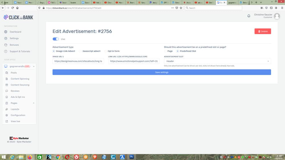 Click and Bank Ads Settings
