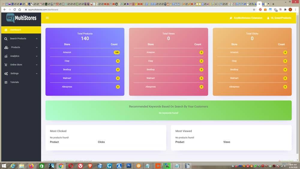 Ezy MultiStores screens - dashboard