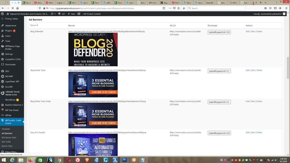 WP Toolkit - Traffic Guard screens - add affiliate links