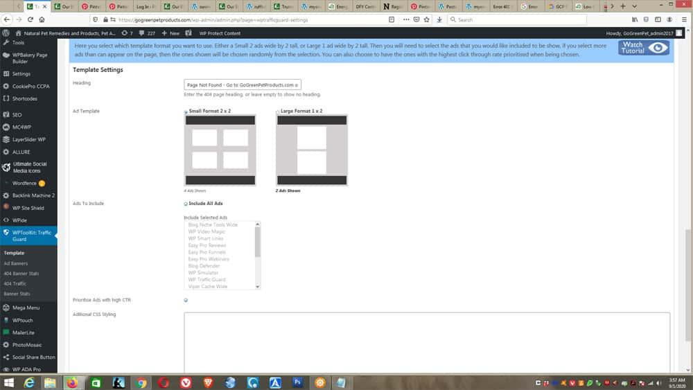 WP Toolkit - Traffic Guard screens - pick template
