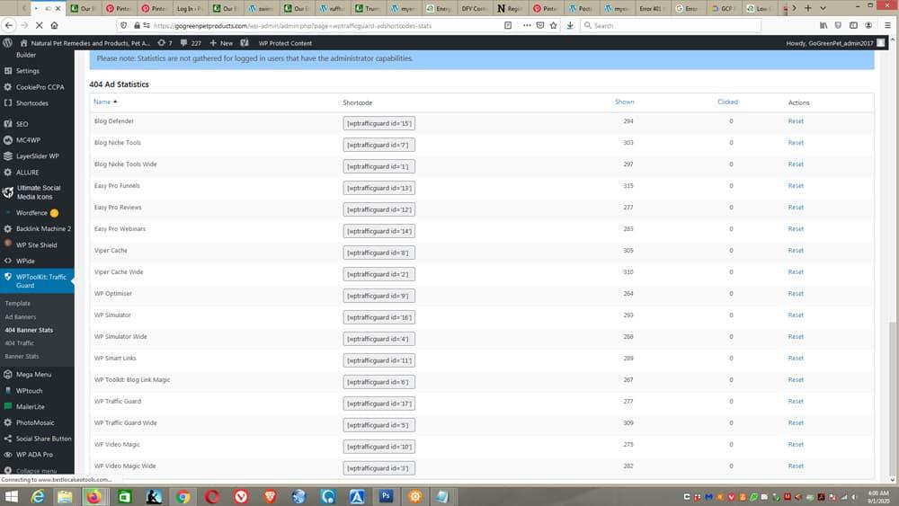 WP Toolkit - Traffic Guard screens - traffic1